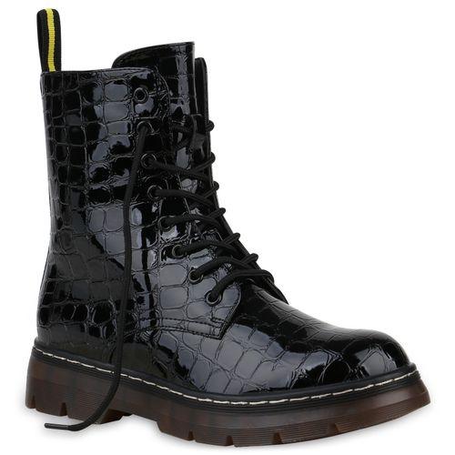 Stiefeletten Worker Schwarz Damen Kroko Boots 1xfSdqgw4