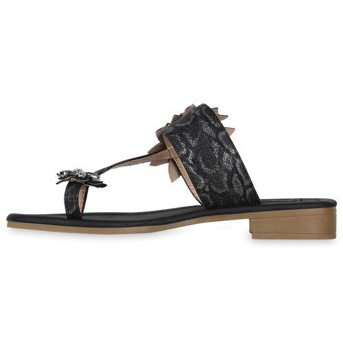Damen Sandaletten Zehentrenner - Schwarz