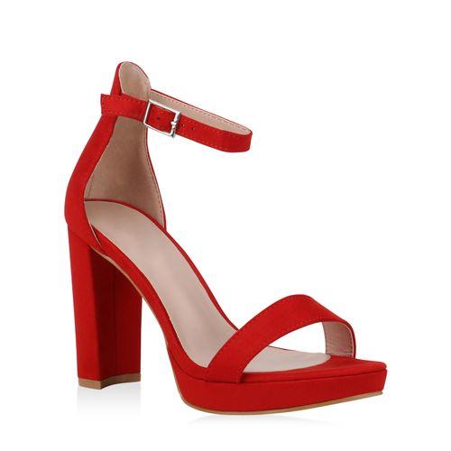 Rot Sandaletten Sandaletten Rot Damen High Heels High Damen Heels 5ESaqx