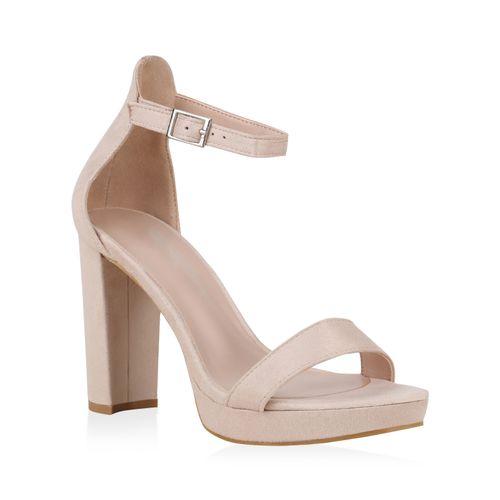 Sandaletten Heels Creme Damen High XZPkiuTO