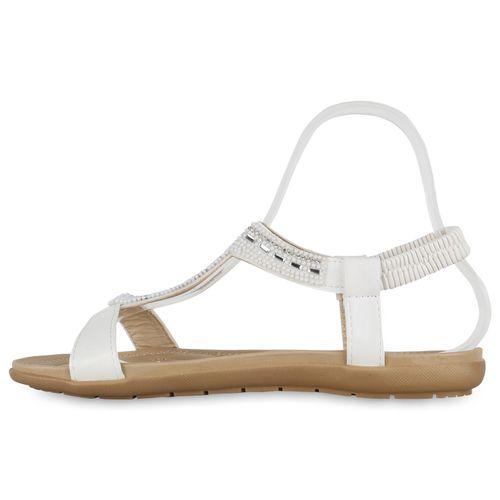 Damen Sandalen Riemchensandalen - Weiß