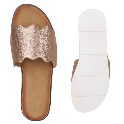 Damen Sandaletten Pantoletten - Rose Gold