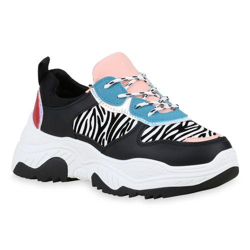 Damen Schwarz Rosa Plateau Zebra Sneaker YYCBwq