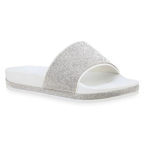 Weiß Sandalen Damen Damen Pantoletten Sandalen Weiß Pantoletten Damen 7Iqw0E5