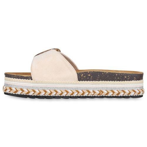 Damen Sandaletten Pantoletten - Beige