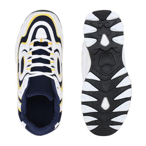 Damen Plateau Sneaker - Weiß Dunkelblau Gelb