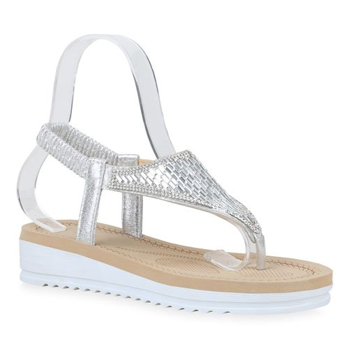 Damen Silber Sandaletten Sandaletten Sandaletten Damen Silber Zehentrenner Zehentrenner Damen pqc1IF