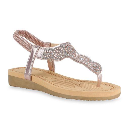 Damen Rose Zehentrenner Damen Rose Gold Zehentrenner Gold Sandaletten Sandaletten 0nqBxEFxwa