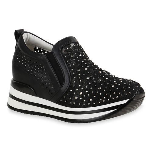 Sneaker Damen Plateau Schwarz Plateau Damen 40WO6qg