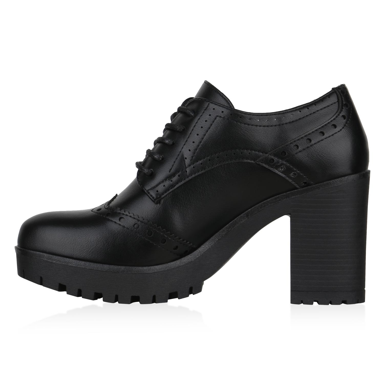 Damen Ankle Boots Stiefeletten Blockabsatz Halbschuhe Schnürer 830316 Schuhe