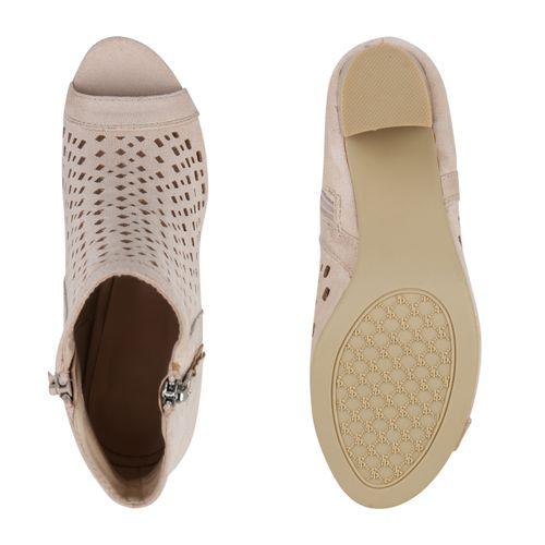 Damen Damen Sandaletten Schaftsandaletten Sandaletten Schaftsandaletten Beige q6w4UE