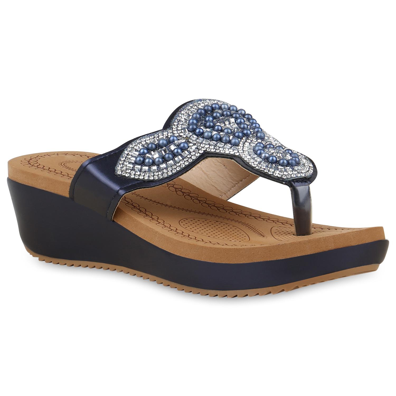 Damen Sandaletten Zehentrenner - Dunkelblau