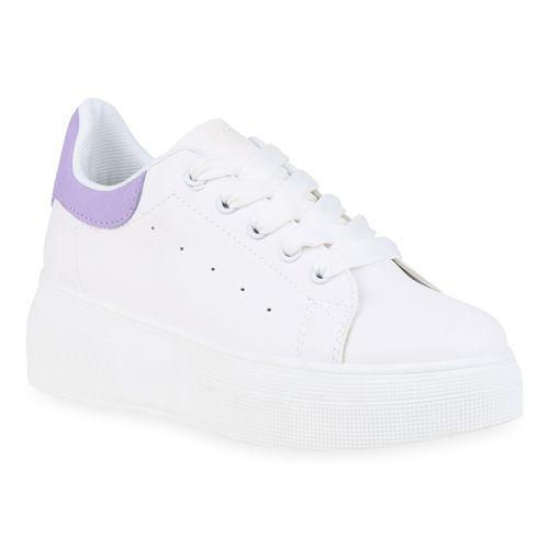 Weiß Damen Plateau Damen Sneaker Weiß Sneaker Helllila Damen Plateau Helllila qtRwBOIt