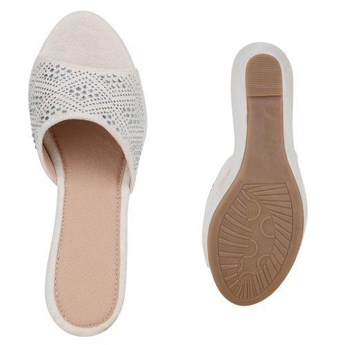 Pantoletten Damen Creme Sandaletten Sandaletten Creme Sandaletten Damen Damen Pantoletten FUaZw1qvq