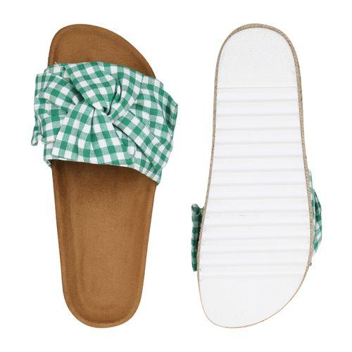 Muster Weiß Pantoletten Sandaletten Grün Damen AqO4YT