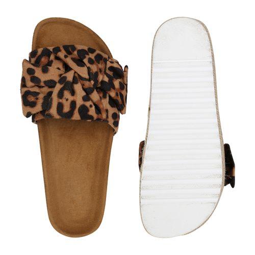 Damen Sandaletten Pantoletten - Hellbraun Leo