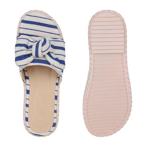Blau Pantoletten Sandaletten Blau Pantoletten Damen Sandaletten Damen xZqFwq01g
