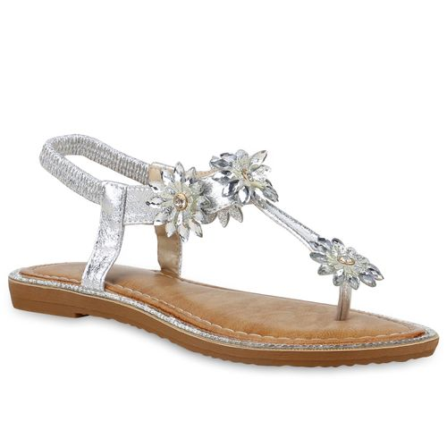 the latest bfdfb d7cc7 Damen Sandalen Zehentrenner - Silber