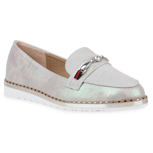 Damen Slippers Metallic Hellgrau Loafers Damen Slippers Loafers qROxwwF57