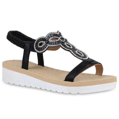 Schwarz Keilsandaletten Sandaletten Sandaletten Damen Damen Schwarz Keilsandaletten TXY7xw8x