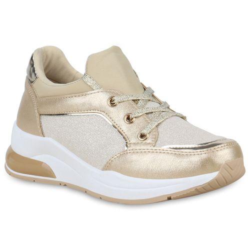 save off 0f906 f288a Damen Plateau Sneaker - Gold