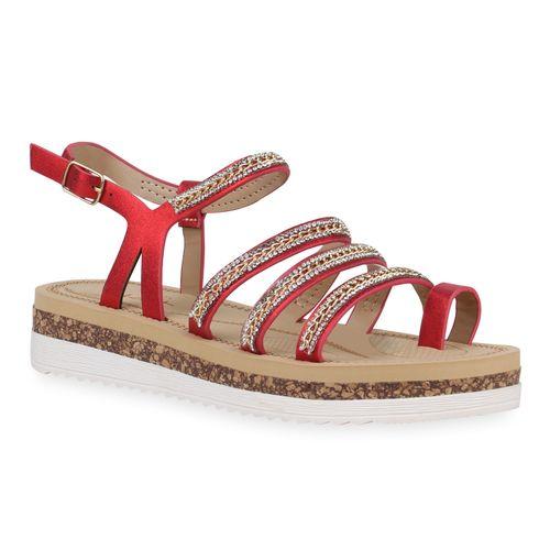 Sandaletten Rot Metallic Metallic Zehentrenner Damen Rot Damen Rot Damen Damen Zehentrenner Metallic Sandaletten Zehentrenner Sandaletten UUtxfBq