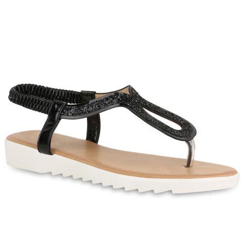 sneakers for cheap d7bcf cdfa4 Damen Sandalen Zehentrenner - Schwarz