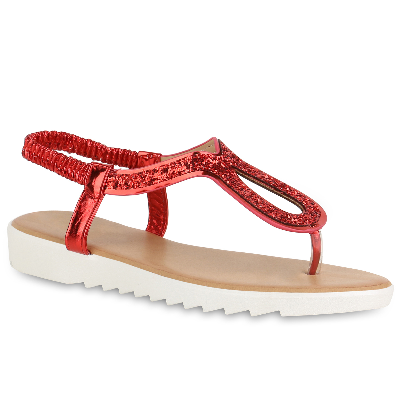 Damen Sandalen Zehentrenner - Rot Metallic