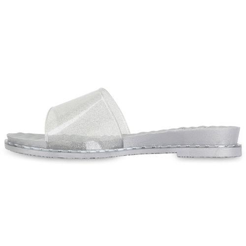 Damen Sandaletten Pantoletten - Silber