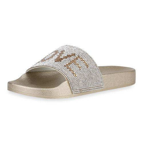 Damen Damen Sandalen Pantoletten Sandalen Gold favfqzpw
