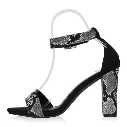 Snake Heels Damen High Schwarz Sandaletten BZwnFq6wIx