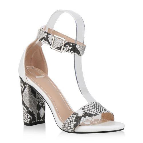 793365ab251c6 Damen Sandaletten High Heels - Weiß Snake