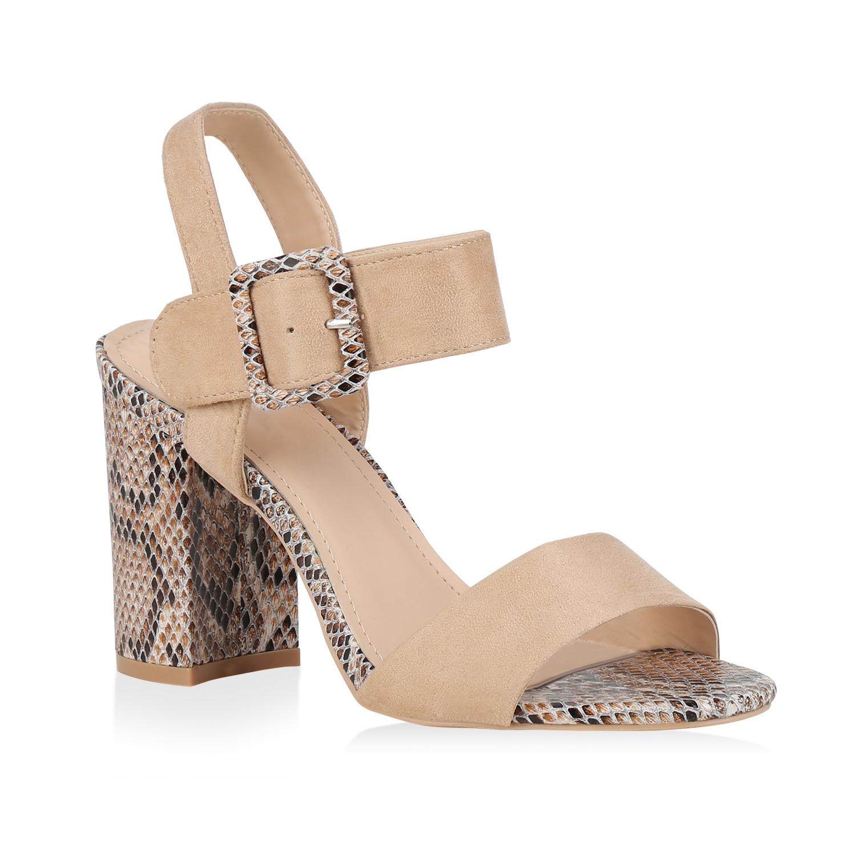 Highheels für Frauen - Damen Sandaletten High Heels Creme Snake  - Onlineshop Stiefelparadies
