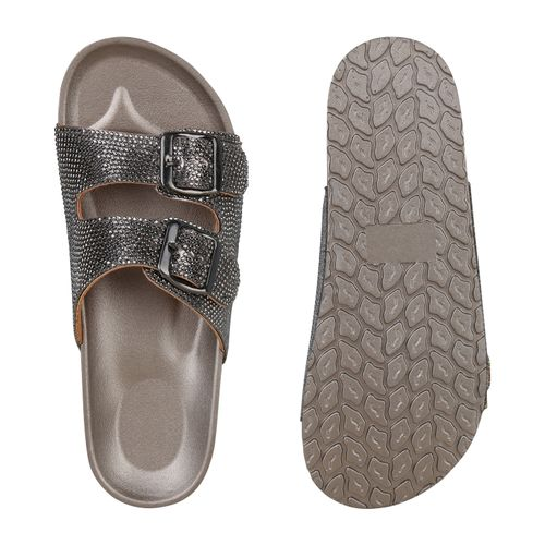 Pantoletten Damen Damen Sandalen Pantoletten Grau Grau Damen Metallic Metallic Sandalen qHfwfp