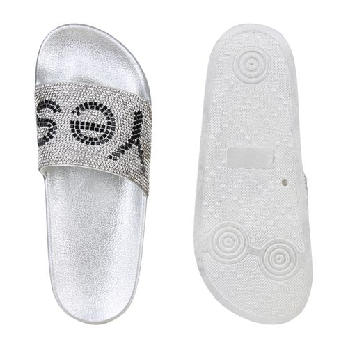 Damen Sandalen Silber Damen Damen Sandalen Silber Pantoletten Sandalen Pantoletten rqwax8rY
