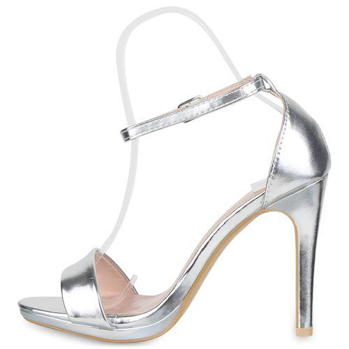 Silber Damen Damen Sandaletten Heels Sandaletten High zpYqzn7a