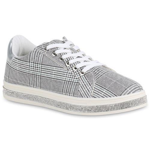 Sneaker Damen Plateau Muster Dunkelgrau Weiß Fqp0xY7