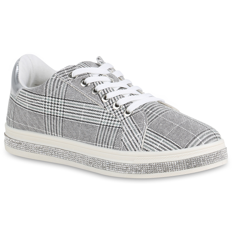 Damen Plateau Sneaker - Dunkelgrau Weiß Muster