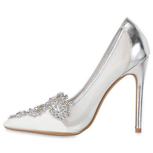 Damen Damen Silber Spitze Pumps Silber Pumps Spitze Spitze Damen Damen Pumps Silber Aadx06w8