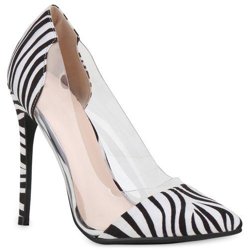 Weiß Schwarz Spitze Zebra Pumps Damen wzTxPc