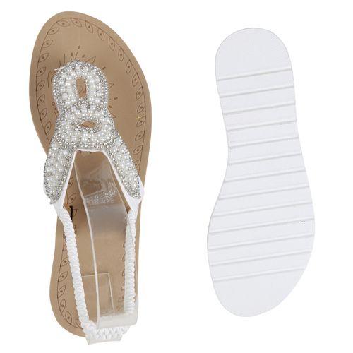Damen Sandaletten Weiß Weiß Zehentrenner Damen Sandaletten Sandaletten Damen Zehentrenner gv5Ew