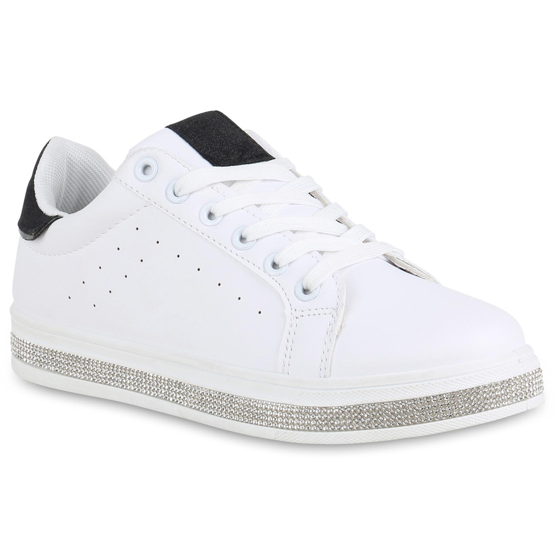 Sneakers für Frauen - Damen Plateau Sneaker Weiß Schwarz › stiefelpardies.de  - Onlineshop Stiefelparadies