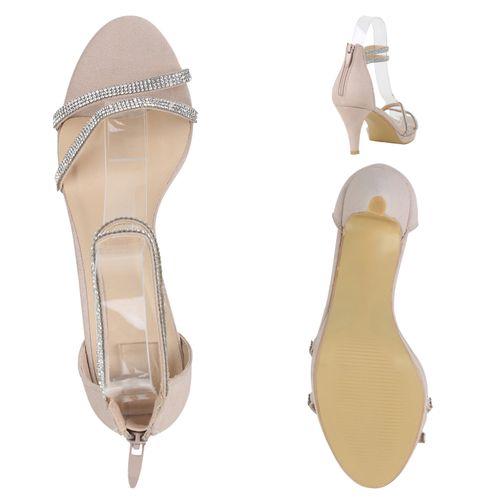 Damen Sandaletten Riemchensandaletten - Beige