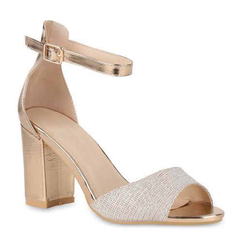 Rose Damen Damen Riemchensandaletten Sandaletten Sandaletten Gold 0I5Fxwq6w