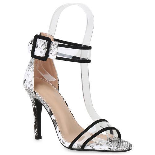 Sandaletten Weiß Heels Snake High Schwarz Damen Hpqxw1AdH