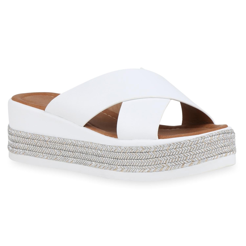 new style a3aea d138b Damen Sandaletten Pantoletten - Weiß