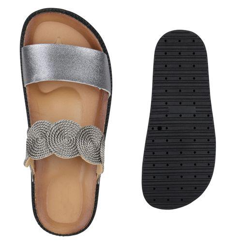 Grau Damen Grau Pantoletten Sandaletten Grau Metallic Damen Metallic Sandaletten Pantoletten Damen Damen Sandaletten Metallic Pantoletten p045wq