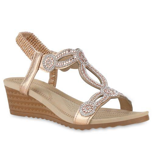 Damen Rose Sandaletten Damen Sandaletten Keilsandaletten Gold Gold Keilsandaletten Rose vvpq4Rxw