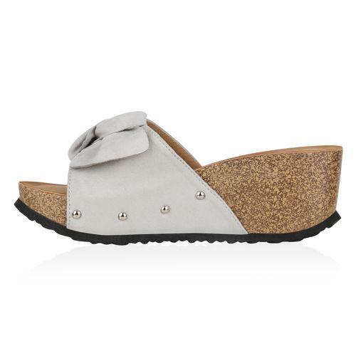 Damen Sandaletten Pantoletten - Hellgrau