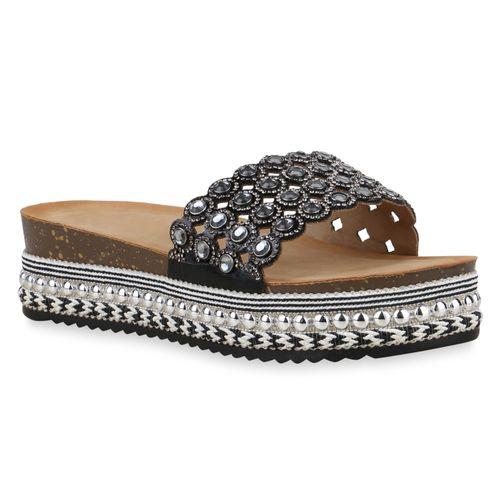 Sandaletten Damen Damen Schwarz Sandaletten Pantoletten HTq0wFU0